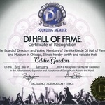 DJ Hall of Fame Certificate of Recognition
