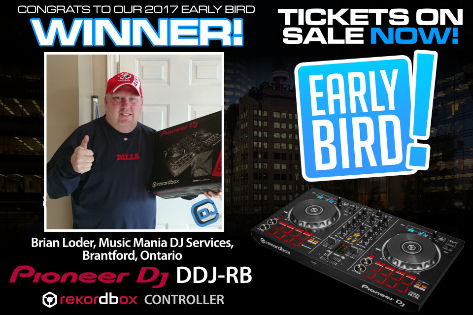 CDJ Show 2017 Early Bird Price Winner, Brian Loder, Music Mania DJ Services, Brantford, Ontario